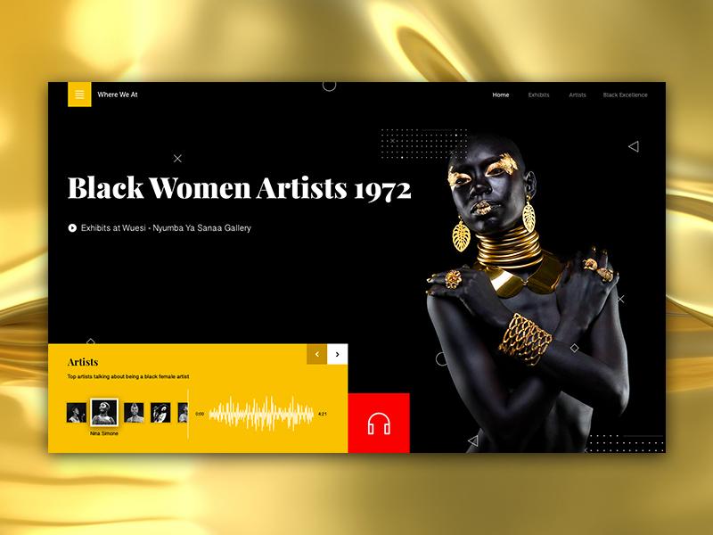 Black Women Artists 1972 african black simple photography modern minimalistic design clean interface web ux ui