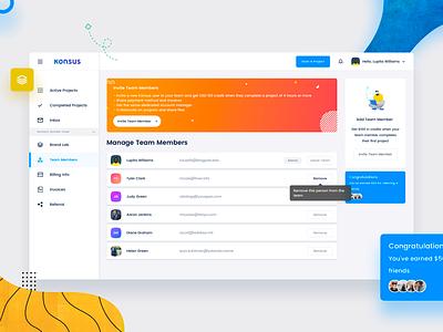 Konsus Dashboard Team ux ui profile account clean project team panel form konsus dashboard