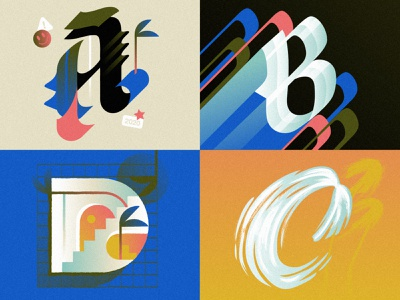 ABCD for 36 days of type. 36 days of type script illustration texture tropical brushscript blackletter font design typography hand lettering