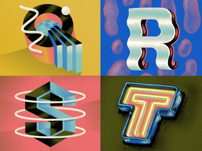 Q R S T for 36 Days of type 80s style neon sign typeface type alphabet drop cap illustration font typography hand lettering 36daysoftype