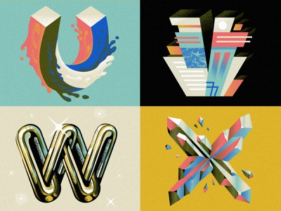 U V W X for 36 days of type 36daysoftype alphabet illustration art deco chains waves crystals hand lettering drop cap font type design typography design typography