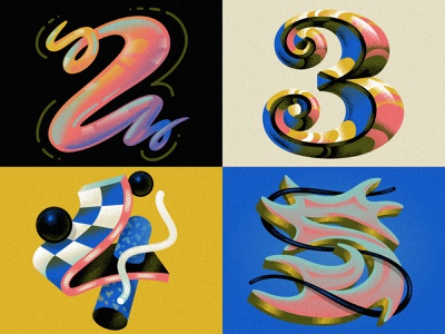 2 3 4 5 for 36 Days of Type numbers numerals alphabet drop cap script 36 days of type type design font design typography hand lettering