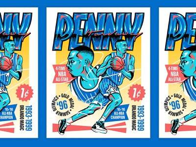Penny Hardaway for the Orlando Magic 90s type design sports poster portrait orlando magic orlando sports basketball poster font people illustration typography hand lettering