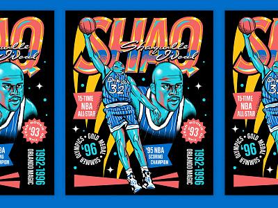 Shaq for the Orlando Magic orlando magic orlando portrait sports basketball poster font people typography illustration hand lettering