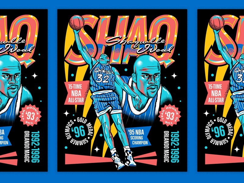 Shaq for the Orlando Magic orlando magic orlando portrait sports basketball poster font people typography illustration hand lettering