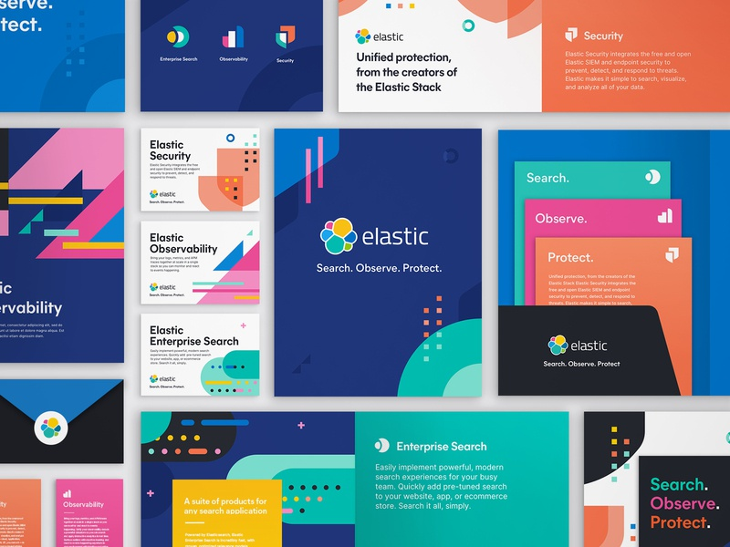 Search. Observe. Protect. Solutions branding development. patterns iconography collateral solution search security observability data visualization products branding