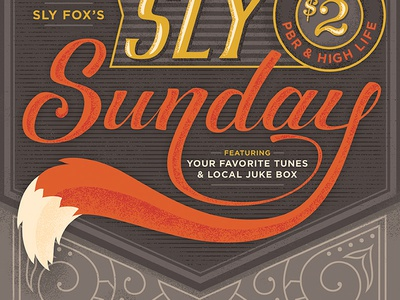 Sly Sundays Poster hand lettering hand-letter script 1920s beer poster bar fox fox tail foxtail
