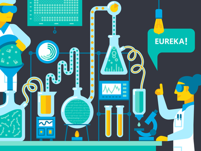 Mad Scientists! logo icon geometric illustration science lab scientist beaker experiment flask test tube characters conference