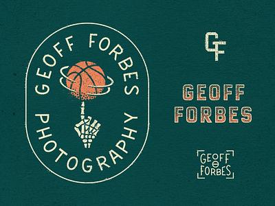 Geoff Forbes Photography vintage identity branding logo monogram lockup sports skull skeleton basketball photographer