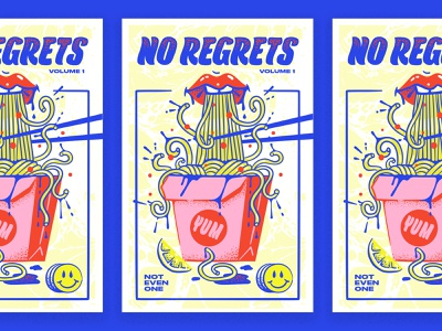 no regrets vol. 1 typography zine magazine cover restaurant illustration hand lettering typogaphy poster lips noodles
