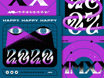 Happy 2020 hand lettering 1970s texture typogaphy handletter poster art eyes acid happy new year psychedelic