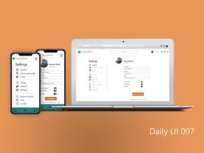 Daily UI 007- Settings adobe xd ux  ui user profile user interface settings page uxdesign design challenge uidesign mobile ui dailyui