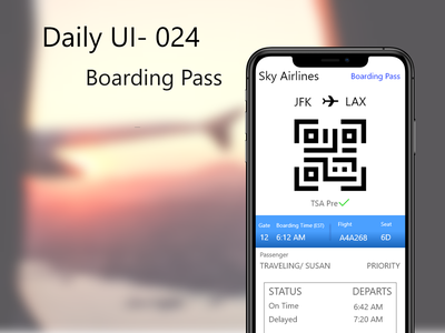 Daily UI-024 Boarding Pass tickets airport traveling ticket airplane boarding user experience airline travel travel app boarding pass boardingpass 100daychallenge uxdesign mobile app design ux  ui design challenge dailyui