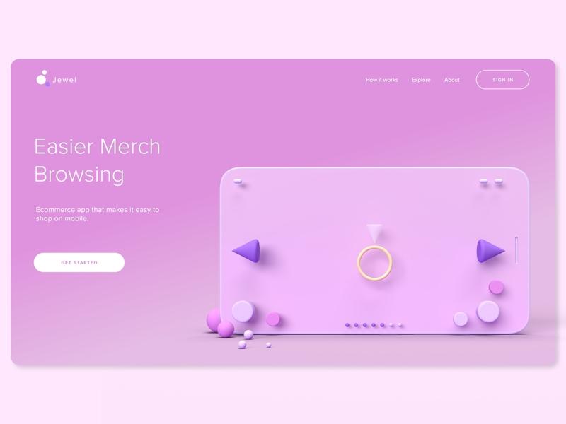 Shopping App   Home Page home page shopping app web design adobe dimension adobe xd