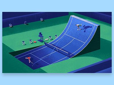 Tennis Inequality athletes sports court inequality tennis editorial illustration