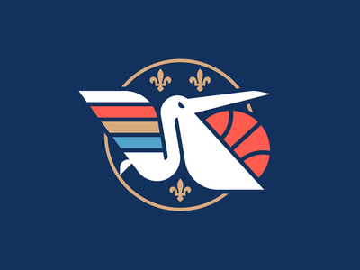 NBA Logo Redesigns: New Orleans Pelicans sports wing bird new orleans pelican nba redesign logo basketball