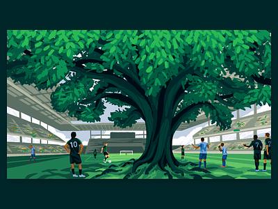 Austin FC stadium texas tree sports soccer illustration