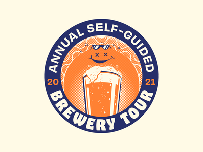 Brewery Tour '21 vector tour illustration badge pint drunk sun summer event brewery beer