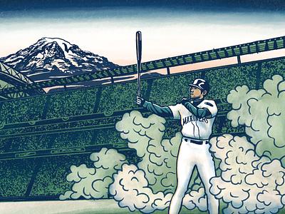 Thirty-six Views of Ichiro ichiro mt. ranier japanese woodblock mariners seattle baseball sports illustration