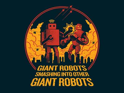 Giant Robots Smashing into Other Giant Robots halftone fight smashing giant robots illustration tshirt