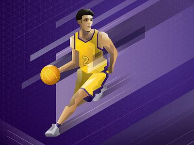 Lonzo lonzo polygon isometric los angeles lakers basketball nba illustration