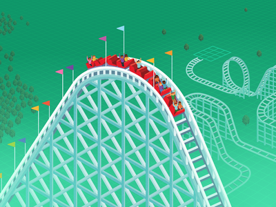 Rollercoaster Tychoon isometric rollercoaster retro video game illustration