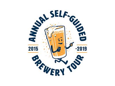 Brewery Tour t-shirt drunk logo event tshirt mascot tour brewery pint beer illustration vector branding