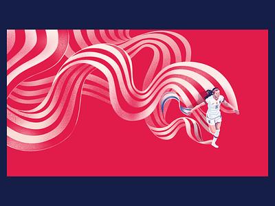 Rose Lavelle stripes ribbon flag uswnt usa soccer illustration