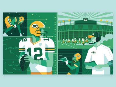 Packers Cultural Revolution grid vector green bay packers nfl football illustration