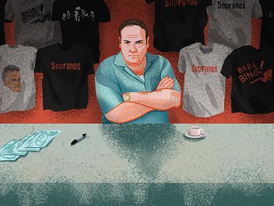 Soprano-Con! mafia tv show conference illustration