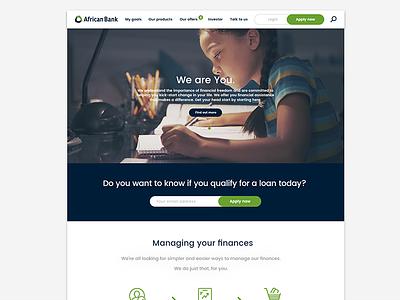 African Bank Website  online marketing ux  ui wed design