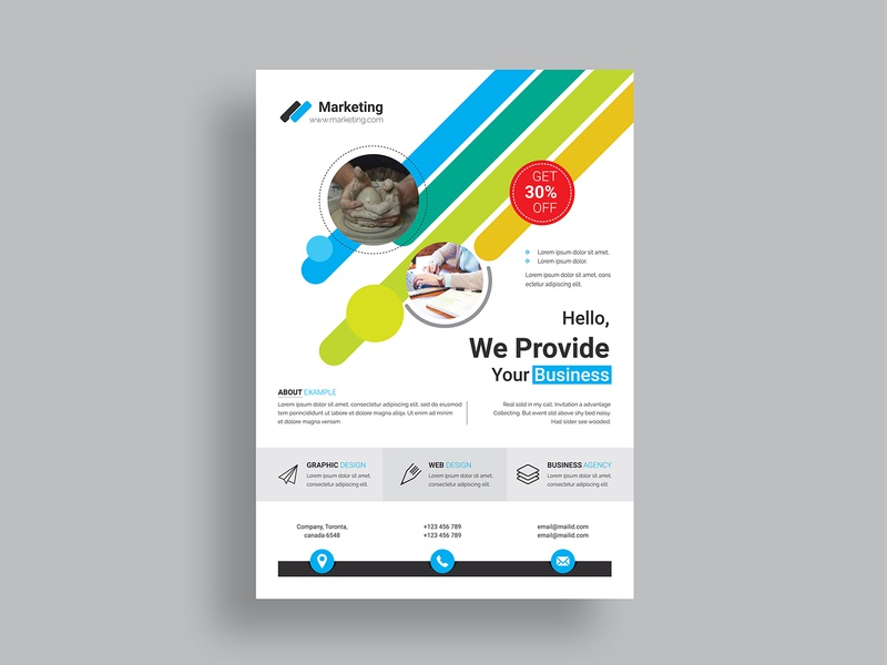 Flyer corporate flyer business flyer flyer modern logo internet id kit id hi-quality green graphic graph corporate computer building blue artistic art abstract