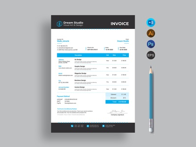 Invoice office invoice ms word modern invoice pad invoice grey freelance invoice eps invoice elegant easy invoice docx document design creative corporate company clean bundle bill a4 size