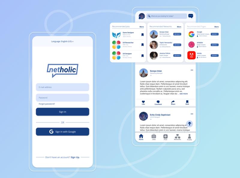 NetHolic (Light Theme), Career Building App flat design flat user experience user interface mobile app design mobile app mobile app vector ux design ui design ui  ux ux ui logo illustration icon design