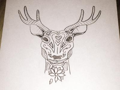 Deer deer head flower lines sketch