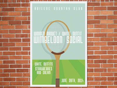 Wooden Wimbeldon tennis poster