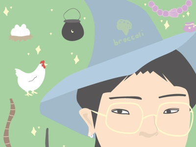 a witch!!!! minimal icon flat illustration vector design