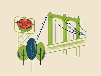Grain Belt Bridge beer nordeast texture lights minnesota mn minneapolis bridge grainbelt sign trees lineart illustration graphicdesign creative design