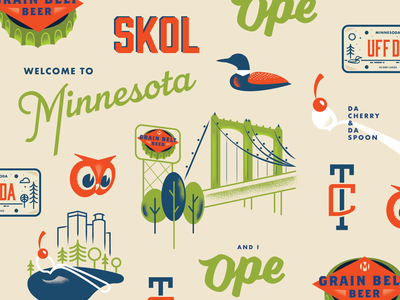 A big ol' hotdish skol collage ope hotdish bridge uffda twins midwest north minnesota minneapolis mn lineart vector typogaphy type illustration graphicdesign creative design