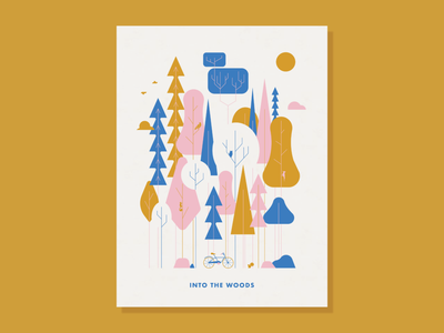 Into the Woods poster screenprint three color pink blue gold animals parks trees modern retro geometric lineart vector illustration graphicdesign creative design