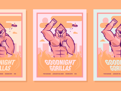Goodnight Gorillas Band Poster type graphicdesign creative design illustration vector band poster poster band fire cream pink aliens city goodnight gorilla