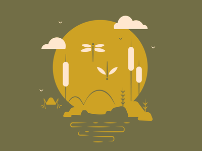 Dance of the Flies cattail water swamp green moon sun frog lake pond river vector illustration graphicdesign creative design dance flies fly mayfly dragonfly