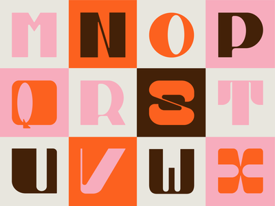 Part 2: 36 Days of Type 2021 inspiration letters alphabet creative logo pink cream orange brown retro customtype 36daysoftype 36days 36daysoftype08 series typogaphy type graphicdesign creative design