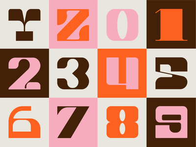 Part 3: 36 Days of Type 2021 numbers 36daysoftype 36daysoftype08 36days retro customtype brown orange cream pink alphabet letters inspiration series typogaphy type graphicdesign creative design