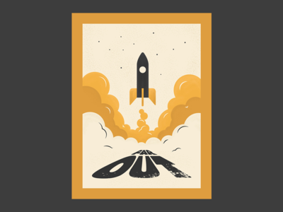 Far Out poster vector type typogaphy illustration graphicdesign design creative smoke rocket spaceship space far