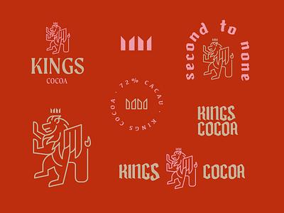 Kings Cocoa Lockup Explorations lockup chocolate cocoa crown king lion exploration color logo typogaphy type illustration graphicdesign creative design