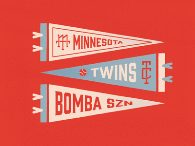 Minnesota Twins monogram dribbbleweeklywarmup dribbble weeklywarmup pennant baseball sports mn minnesota twins vector typogaphy type illustration graphicdesign creative design