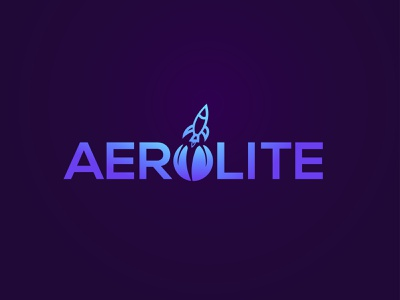 AEROLITE word mark wordmark logo gradient logo gradient rocketship logo branding logo design rocketship rocket illustration logo icon design