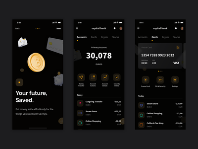 Capital - Digital bank app wallet crypto banking finance app ui ux