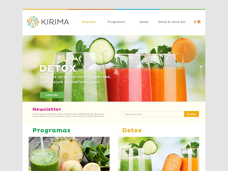 Kirima - Website web food clean ui ux design graphic design